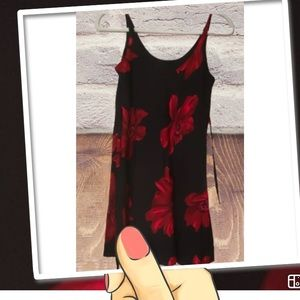 Black /Red flowers dress